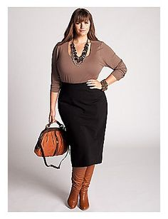 Curvy Woman Black Pencil Skirt Brown Top and Brown Boots