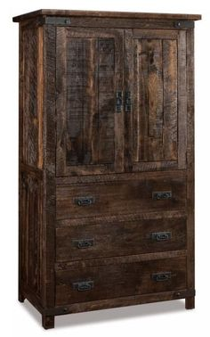 Amish Ironwood Armoire with 3 Drawers Rich, rustic look for bedroom or hallway. The Ironwood is made with rough sawn brown maple wood and finished with your choice of stain and hardware. American made, solid wood furniture for bedroom. #armoire #bedroomstorage