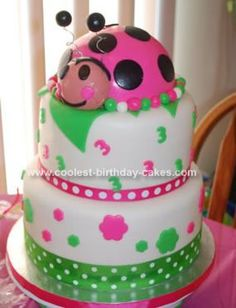 Homemade Ladybug 3rd Birthday Cake Idea: This is the homemade ladybug 3rd birthday cake idea I made for my granddaughter.  I got my ideas from this site and from CakeCentral.com.  The bottom tier