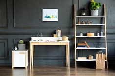 home office set. Including study desk, modern ladder type shelving unit and container for more storage. Workbench Table, Office Set, Office Desks, Study Desk, Storage Places, Desk Storage, Home Office Design, Cabinet Design, Scandinavian Style