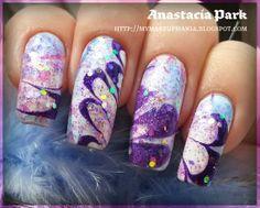 Purple Water Marbling Nails