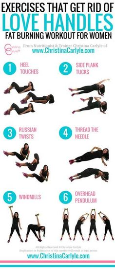exercises that get rid of love handles - Christina Carlyle