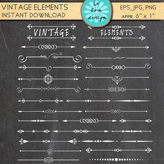 Text divider Clip Art 63 vintage design elements by Lebondesign, $4.50