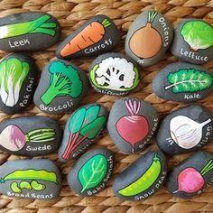 Set of 5 Winter Vegetables Seedling Markers Hand Painted Rocks | Etsy Painted Garden Rocks, Hand Painted Rocks, Vegetable Garden Markers, Vegetable Pictures, Vegetable Painting, Garden Labels, Winter Vegetables, Rock Crafts, Garden Stones