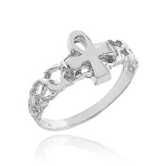 Dainty 14k White Gold Nugget Band Egyptian Ankh Cross Knuckle Ring, Size 8 *** Read more reviews of the product by visiting the link on the image.