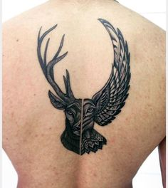Beautiful deer/owl tattoo