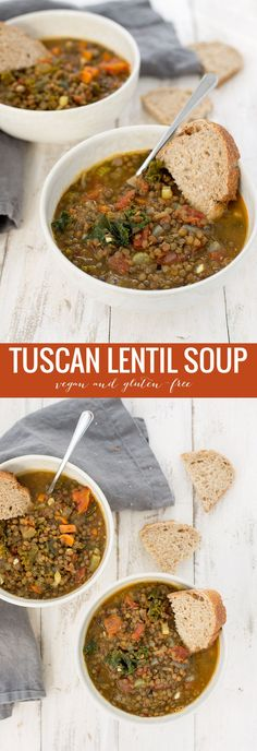 4 Points About Vintage And Standard Elizabethan Cooking Recipes! Tuscan Lentil Soup An Italian Take On Classic Lentil Soup. Veggie lover And Gluten-Free. Soup Recipes, Whole Food Recipes, Vegetarian Recipes, Chicken Recipes, Cooking Recipes, Healthy Recipes, Vegan Lentil Recipes, Vegetarian Italian, Cooking Rice