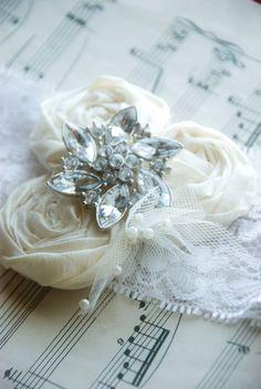 Vintage Wedding Garter, Ivory Lace Bridal Garter Set netting and large rhinestone accent (choose any colors). $42.50, via Etsy.