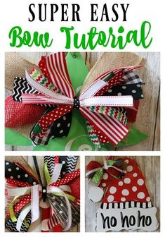 Looking for the perfect tree topper or an extra special bow to add to your gift-wrapping to kick it up a notch?! Check out this Super Easy Bow Tutorial by Re-Fabbed! #christmas #diy #holidays #tutorial #diychristmas #DIYholidays Diy Bow, Diy Ribbon, Ribbon Bows, Ribbon Flower, Ribbon Hair, Fabric Flowers, Ribbons, Wreath Bows, Deco Wreaths