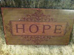 """HOPE"" Inspirational plaque Ikea Design, Stainless Steel Bowl, Chrome, Bulb, Inspirational, Led, Sayings, Ebay, Home Decor"