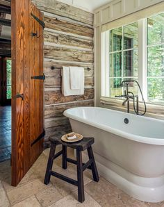 Fishcreek Woods is a mountain guest house designed by JLF + Associates in Jackson, Wyoming. A modest house and a tiny guest cottage Rustic Bathroom Designs, Rustic Bathroom Decor, Bathroom Ideas, Bathroom Wall, Master Bathroom, Kmart Bathroom, Open Bathroom, Cozy Bathroom, Shower Designs