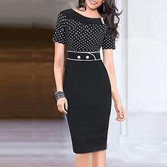 Women's Round Collar Polka Dots Splicing Pencil Dress - EUR € 20.59