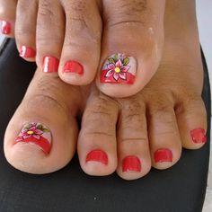 Unhas do Pé Decoradas 924,  #unhasbonitas #UnhasDecoradasSimples #UnhasLindas, Nails, Red, Beauty, Perfect Nails, Pretty Nails, Nails At Home, Adhesive, Vestidos, Simple Toe Nails