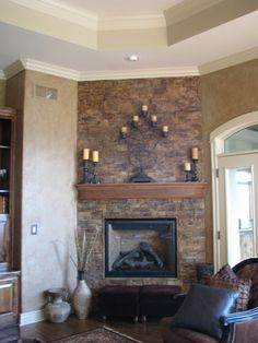 Quartz Stone Fireplace With Stone Mantel Shelf Also Black ...