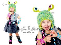 Handmade Crochet Sonic Eye Alien Monster Hat for boys and girls of all ages