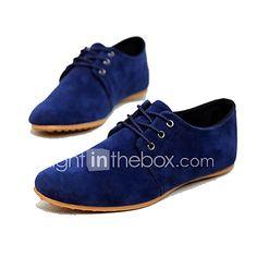Hombre Zapatos Ante Sintético Primavera Verano Otoño Confort Oxfords Con Cordón para Casual Azul marino Negro Marrón 2018 - €23.45
