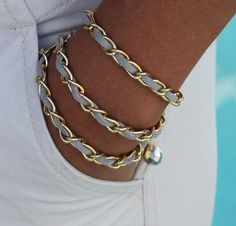 Boho CHAIN Triple Wrap Bracelet / Necklace  - 11X6mm GOLD Chain / GRAY Faux Suede -  Dangle Charms - Any Size - Wholesale - Ref 497