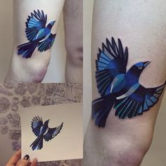 Blue Bird Tattoo by sashaunisex... its nice to stumble on a talented tattoo artist that has their own fully developed style... excellent work!