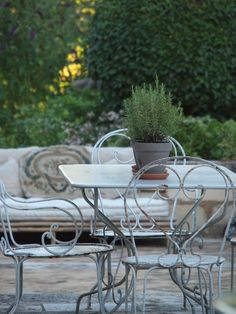 I use three pots of rosemary as a quick and easy centerpiece all the time! Did it just recently, in fact. Mine are in scalloped zinc pots. Provencal Garden via Vicki Archer