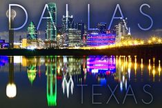 Dallas, Texas - Skyline at Night (16x24 Giclee Gallery Print, Wall Decor Travel Poster)