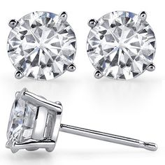 4-Prong Low-Profile Round Moissanite Basket Stud Earrings