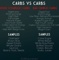 Good Carbs Vs. Bad Carbs ✽¸.•♥♥•.¸✽ Join my great healthy living group at www.facebook.com/groups/yourhealthylife.natashak  Follow me on facebook at  www.facebook.com/natashakrystolovich for more awesome posts!!  Have a FABULOUS day!!