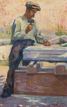 The Marble Carver-ΔΕΙΤΕ ΚΙ'ΑΛΛΑ ΕΡΓΑ ΕΔΩ O Κωνσταντίνος Μαλέας (Κωνσταντινούπολη, 1879 – Αθήνα, 1928) ήταν ένας από τους πλέον σημαντικούς μεταϊμπρεσιονιστές έλληνες ζωγράφους των αρχών του 20ού αι. Μαζί με τον Κωνσ… Artist Painting, Greece, Contemporary Art, Marble, Paintings, Image, Greece Country, Paint, Painting Art