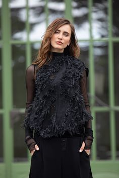 Wide black fashion fall unique stand up collar top. For the perfect casual top outfit. By ART POINT womens brand #fashiondiscovery #Art_point #Top #fashion #style #designer_tops #ladies_tops #nice_tops #unique_tops #boutique_tops #tops_fall #outfits_tops #womens_fall_tops #womens_fashion_tops #asymetrical_top #black_tops #fall_fashion_tops #casual_tip