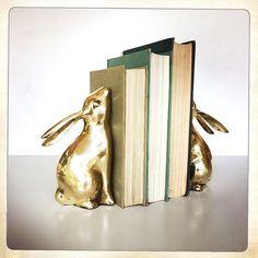 vintage brass bunny rabbit bookends by amysvintagedecorium on Etsy