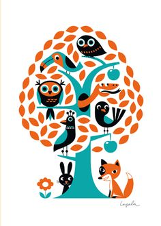 Ingela is an illustrator is Sweden, her illustration style, captures a style i try to use in my softies, This poster features nearly all the animals I have made (or planning to make) Love her style so much!