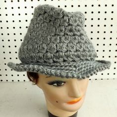 Crochet Hat Womens Hat Womens Crochet Hat Womens Fedora Hat Gray Hat Gray Crochet Hat ANDY Crochet Fedora Hat for Women by strawberrycouture by #strawberrycouture on #Etsy