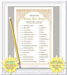 Match the DISNEY LOVE SONGS Bridal Shower game with blush and gold accents, diy Printable, bachelorette party game, engagement party, 29BR