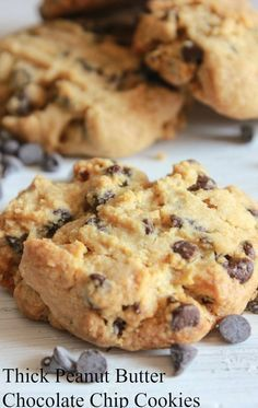 Thick Peanut Butter Chocolate Chip Cookies, so easy and I am sure the best you will every eat, nice and soft and full of chips, so good, I have to go make some more/anitalianinmykitchen.com