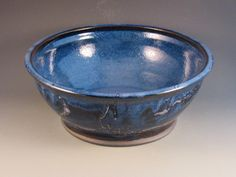 Large  Blue Bowl With Blue On Inside, White, Dark Brown Outside, Blue, Ready To Ship by potmaker on Etsy