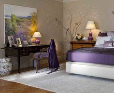 Lavender And Grey Bedroom Purple Bedroom Decor Ideas With Grey Wall And White Accent