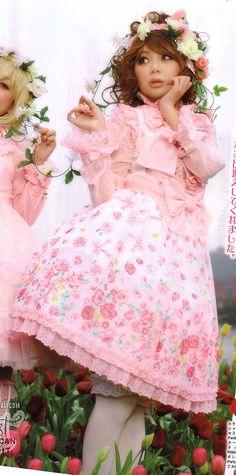 Angelic Pretty / Jumper Skirt / Powder Rose Frill JSK