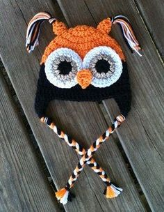 Baby Toddler Boy HALLOWEEN Crochet OWL Earflap Hat by shayahjane, $20.00