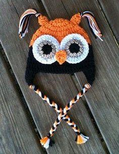 Baby Toddler Boy HALLOWEEN Crochet OWL Earflap Hat by shayahjane, $20.00