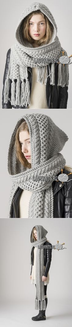 Вязаный спицами стильный шарф-капюшон с косами.