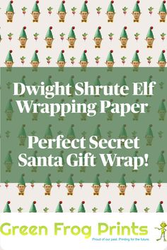"Funny Dwight Schrute Elf Christmas Gift Wrap For any fan of ""The Office"". This gift wrap is sure to thrill any fan of the hit tv show ""the Office"" or Dwight Schrute. This eco-friendly gift wrap is an exclusive design and includes a Christmas beet with golden bow between each Dwight Elf picture. Printed on a cream color paper in eco-friendly inks. Each sheet measures 22"" x 29. #theoffice #dwight #dwightschrute #schrutefarms #officefans #dwightandjim #dwightschrutequotes #officegifts… Funny Wrapping Paper, Creative Gift Wrapping, Creative Gifts, Christmas Gift Wrapping, Christmas Elf, Holiday, Gift Wrapping Techniques, Dwight Schrute, Secret Santa Gifts"