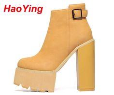 39.14$  Watch now - http://ai30j.worlditems.win/all/product.php?id=32509016935 - punk boots women pumps winter autumn shoes women boots high heels motorcycle women ankle boots platform women fur boots D283