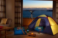 An adventure awaits young guests year-round with the Indoor Campout setup at The Ritz-Carlton New York, Battery Park.