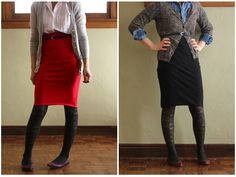 I have always been a big fan of the pencil skirt. It looks good on almost everyone, it is simultaneously hipand traditional, and…you can make one in ten minutes. How do I know this? Family fu…