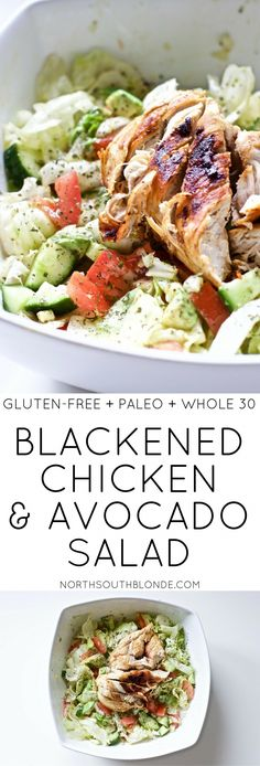 Blackened Chicken and Avocado Salad (Gluten-Free, Paleo, Whole 30) #FoodTips Healthy Recipes, Lunch Recipes, Summer Recipes, Dinner Recipes, Free Recipes, Easy Recipes, Protein Recipes, Paleo Food, Healthy Foods