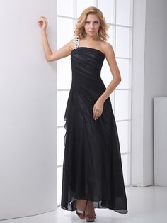 Black One Shoulder High-low Ruching Sheath/Column Prom Dress.You can customize the color and size at nextdress.co.uk