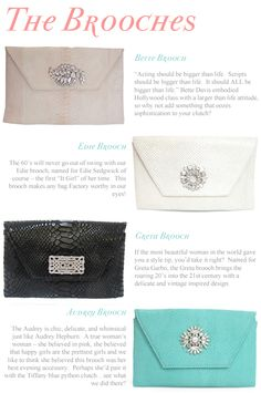 Awesome recap of the style-icon inspired brooches from our Merci New York for Madame Mathilde clutch collection!