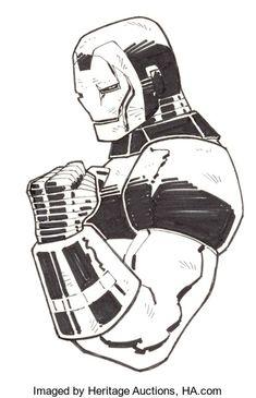 The Marvel Comics of the — Iron Man Corner Box by John Romita Jr. Marvel Dc, Marvel Comics Art, Drawing Superheroes, Marvel Drawings, Iron Man Drawing, John Romita Jr, Iron Man Armor, Jr Art, Spiderman Art