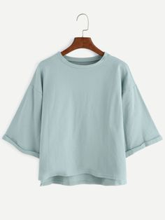 Shop Drop Shoulder High Low Cuffed T-shirt online. SheIn offers Drop Shoulder High Low Cuffed T-shirt & more to fit your fashionable needs.