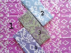 These are batiks with cute colors. The pattern is based on ethnical wood carving.