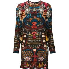 Dsquared2 all-over Japanese print dress ($1,268) ❤ liked on Polyvore featuring dresses, long sleeve print dress, multi-color dress, pattern dress, zip back dress and round neck dress